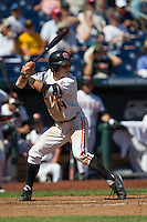 Oregon State second baseman Andy Peterson (14) at bat against the Louisville Cardinals during Game 5 of the 2013 Men's College World Series on June 17, 2013 at TD Ameritrade Park in Omaha, Nebraska. The Beavers defeated Cardinals 11-4, eliminating Louisville from the tournament. (Andrew Woolley/Four Seam Images)