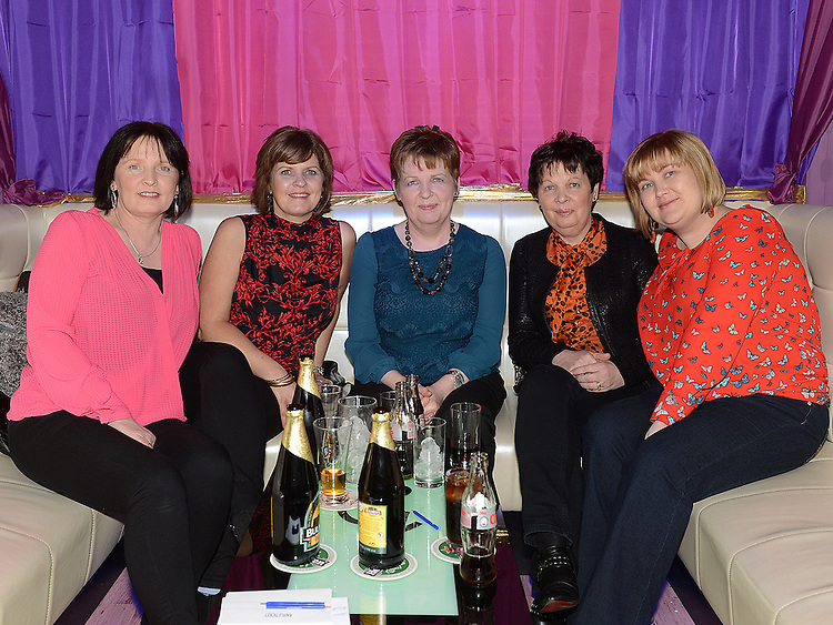 Valerie Abidi, Vivienne Caffrey, Mary Crosby, Geraldine Reay and Sarah Crosby pictured at the benefit night for DJ Tayo Sheridan in Galaxy Night Club. Photo:Colin Bell/pressphotos.ie