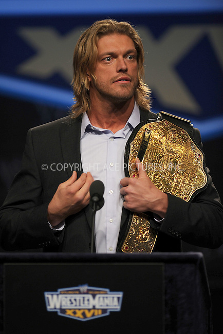 WWW.ACEPIXS.COM . . . . . .March 30, 2011...New York City...Edge attends the WWE  Wreslemania XXVII Press Conference at the Hard Rock Cafe on  March 30, 2011 in New York City....Please byline: KRISTIN CALLAHAN - ACEPIXS.COM.. . . . . . ..Ace Pictures, Inc: ..tel: (212) 243 8787 or (646) 769 0430..e-mail: info@acepixs.com..web: http://www.acepixs.com .
