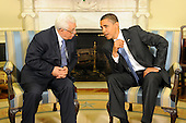 Washington, DC - May 28, 2009 -- United States President Barack Obama (R) meets with President of Palestine Mahmoud Abbas (L) in the Oval Office of the White House in Washington DC, USA, Thursday,28 May 2009.  .Credit: Michael Reynolds - Pool via CNP