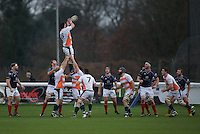 Chris York of Ealing Trailfinders wins the line out during the Greene King IPA Championship match between London Scottish Football Club and Ealing Trailfinders at Richmond Athletic Ground, Richmond, United Kingdom on 26 December 2015. Photo by Alan  Stanford / PRiME Media Images