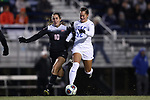 DURHAM, NC - NOVEMBER 17: Duke's Kayla McCoy (12) and Oklahoma State's Elise Hawn (10). The Duke University Blue Devils hosted the Oklahoma State University Cowboys on November 17, 2017 at Koskinen Stadium in Durham, NC in an NCAA Division I Women's Soccer Tournament Second Round game. Duke won the game 7-0.