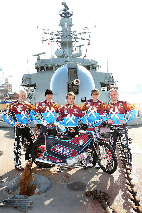 From Left: Krzysztof Kasprzak, Stuart Robson, Adam Shields, Kauko Nieminen, Paul Hurry - Lakeside Hammers Speedway team announce sponsorship by the Royal Navy for the 2010 season aboard HMS Kent in Portsmouth Dockyard - 02/03/10 - MANDATORY CREDIT: Gavin Ellis/TGSPHOTO - Self billing applies where appropriate - Tel: 0845 094 6026