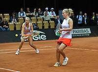 Arena Loire,  Trélazé,  France, 16 April, 2016, Semifinal FedCup, France-Netherlands, Doubles:  Hogenkamp Bertens (NED)<br /> Photo: Henk Koster/Tennisimages