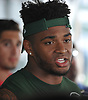 Jamal Adams #33 speaks with the media after a day of New York Jets Training Camp at Atlantic Health Jets Training Center in Florham Park, NJ on Tuesday, Aug. 1, 2017.