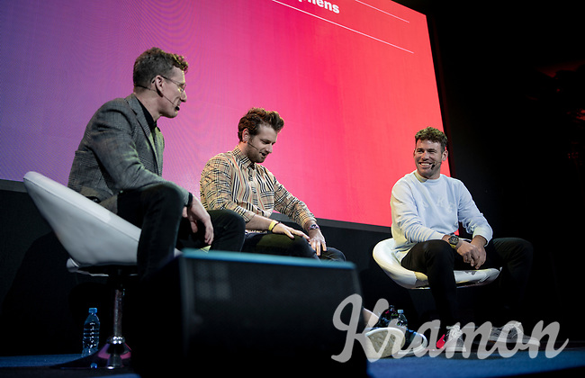 "Matt Stevens & Adam Blythe welcoming Mark Cavendish  on stage<br /> <br /> Rouleur Classic London 2019<br /> ""The World's Finest Road Cycling Exhibition""<br /> <br /> ©kramon"