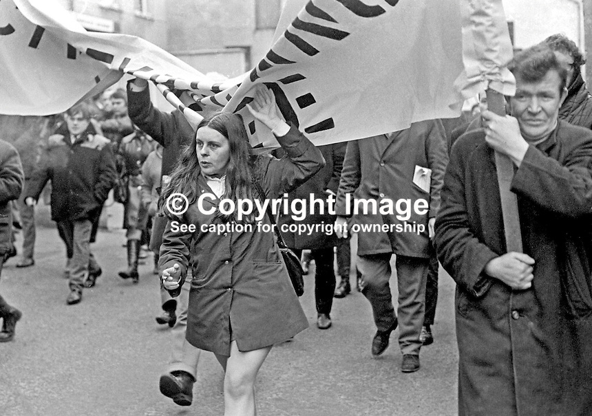 Mid-Ulster Independent MP, Bernadette Devlin, leads the banned Dungannon Civil Resistance Committee march to Coalisland on 23rd January 1972. A ban on all marches during 1972 was imposed by Ulster Unionist Prime Minister Brian Faulkner on 18 January 1972. 197201230027d.<br />