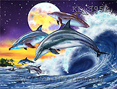 Interlitho, Lorenzo, FANTASY, paintings, dolphins, moon, KL, KL3952,#fantasy# illustrations, pinturas