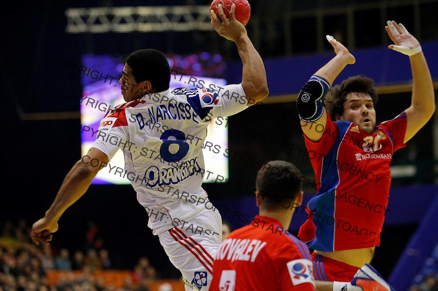 Narcisse Bertrand (L) of France during EHF EURO 2012 handball championship game between Russia and France in Novi Sad, Serbia, Wednesday, January 18, 2011.  (photo: Pedja Milosavljevic / thepedja@gmail.com / +381641260959)