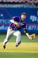 Left fielder Trevor Crowe (26) of the Akron Aeros tracks a sinking fly ball at Prince Georges Stadium in Bowie, MD, Tuesday June 17, 2008.
