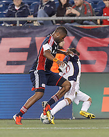 New England Revolution defender Andrew Farrell (2) close play thwarts Real Salt Lake substitute midfielder Sebastian Velasquez (26) attack.