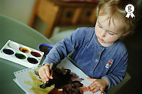 Girl (2-4) painting, elevated view (Licence this image exclusively with Getty: http://www.gettyimages.com/detail/200339706-001 )