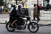 Pictured: Vanessa Kirby (Princess Margaret) and Matthew Goode (Lord Snowdon) are spotted on a vintage motorbike filming season 2 on St George's Drive in Pimlico, London, during the filming of television series The Crown.