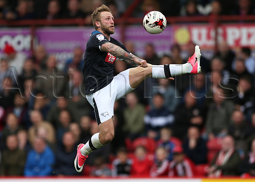 April 14th 2017,  Brent, London, England; Skybet Championship football, Brentford versus Derby County; Johnny Russell of Derby County controls the ball mid air