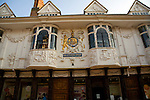 Pargetting decoration on the Ancient House, Ipswich, Suffolk, England, also known as Sparrowes House, is a Grade I listed building dating from the fifteen century. The pargetted front illustrates details of the then known continents of Africa, America, Asia, and Europe