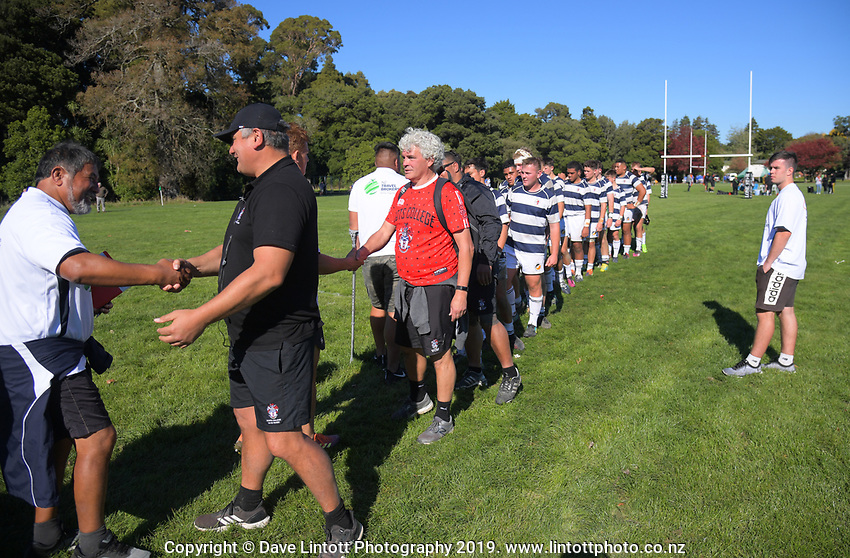 Action from the Transit Coachlines 1st XV Festival rugby union match between Scots College and Palmerston North Boys' High School at Rathkeale College in Masterton, New Zealand on Saturday, 4 May 2019. Photo: Dave Lintott / lintottphoto.co.nz