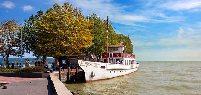Old style traditional passanger ferry,  ketcsmet,  lake Balaton, Hungary