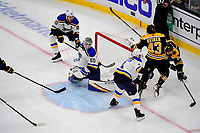 June 6, 2019: Boston Bruins left wing Marcus Johansson (90) goes for the wrap around on St. Louis Blues goaltender Jordan Binnington (50) during game 5 of the NHL Stanley Cup Finals between the St Louis Blues and the Boston Bruins held at TD Garden, in Boston, Mass. The Blues defeat the Bruins 2-1 in regulation time. Eric Canha/CSM