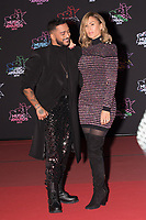 French singer Slimane Nebchi aka Slimane (L) and French singer Charlotte Gonin aka Vitaa pose on the red carpet as she arrives to attend the 21st NRJ Music Awards ceremony at the Palais des Festivals in Cannes, southeastern France, on November 9, 2019<br /> Le chanteur français Slimane Nebchi alias Slimane (G) et la chanteuse française Charlotte Gonin alias Vitaa posent sur le tapis rouge lors de son arrivee a la 21e ceremonie des NRJ Music Awards au Palais des Festivals a Cannes, dans le sud-est de la France - le 9 novembre 2019.<br /> Eric Dervaux_ DALLE