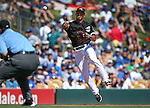 Chicago White Sox Tyler Saladino makes a play in a spring training game against the Dodgers in Glendale, Ariz., on Saturday, March 19, 2016. The Sox won 4-2. <br />