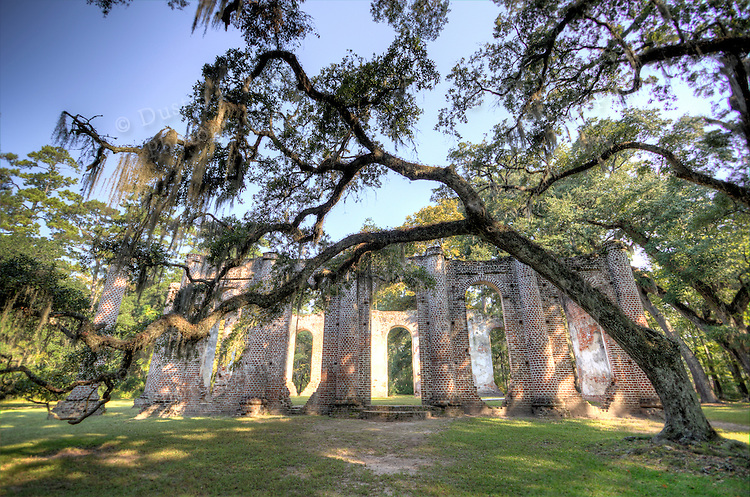 Old Sheldon Church Ruins High Dynamic Range HDR in Beaufort South Carolina