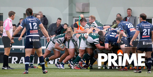 Ealing's Rhys Lawrence waits for a chance to lead the attack during the Greene King IPA Championship match between Ealing Trailfinders and Bedford Blues at Castle Bar , West Ealing , England  on 29 October 2016. Photo by Carlton Myrie / PRiME Media