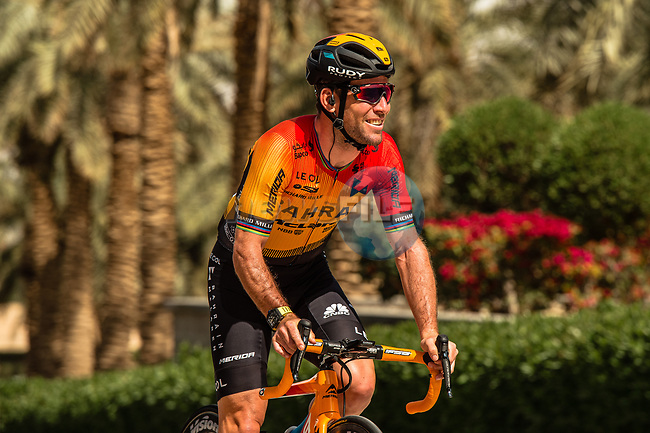 Mark Cavendish (GBR) Bahrain-McLaren before the start of Stage 5 of the Saudi Tour 2020 running 144km from Princess Nourah University to Al Masmak, Saudi Arabia. 8th February 2020. <br /> Picture: ASO/Kåre Dehlie Thorstad | Cyclefile<br /> All photos usage must carry mandatory copyright credit (© Cyclefile | ASO/Kåre Dehlie Thorstad)