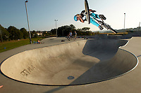 Clinton Johns riding DMR jump bike ,   Hayle skatepark , Cornwall .