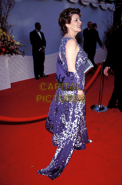 BRENDA BLETHYN.Ref: 8317.long blue dress, purple dress, white print, silver print, scarf, shawl, wrap, red carpet, full length, full-length.www.capitalpictures.com.sales@capitalpictures.com.© Capital Pictures