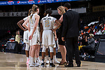 Wake Forest Demon Deacons head coach Jen Hoover talks to her team during a second half timeout in the game against the Virginia Cavaliers at the LJVM Coliseum on February 25, 2018 in Winston-Salem, North Carolina. The Cavaliers defeated the Demon Deacons 48-41.  (Brian Westerholt/Sports On Film)