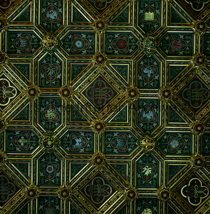 Detail of the kaleidoscopic ceiling of the Robing Room, designed by J.G.Crace