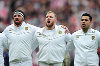 Tom Wood, James Haskell and Ben Te'o of England sing the national anthem. RBS Six Nations match between England and Scotland on March 11, 2017 at Twickenham Stadium in London, England. Photo by: Patrick Khachfe / Onside Images