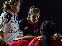 Leanne Riley eyes the opposition at a scrum, England Women v Canada in an Autumn International match at The Stoop, Twickenham, London, England, on 21st November 2017 Final score 49-12
