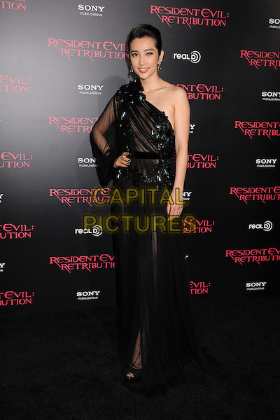 "Li Bingbing.""Resident Evil: Retribution"" Los Angeles Premiere held at Regal Cinemas L.A. Live, Los Angeles, California, USA..September 12th, 2012.full length dress black sheer one shoulder sleeve hand on hip.CAP/ADM/BP.©Byron Purvis/AdMedia/Capital Pictures."