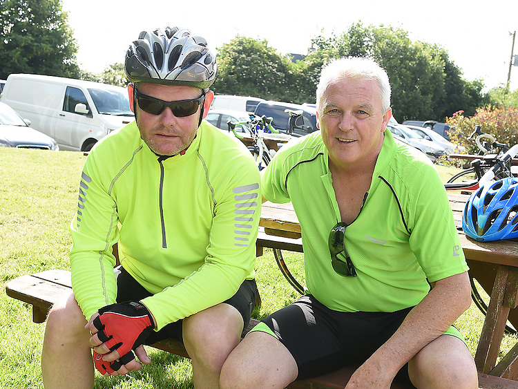 Martin Curtis and Gerry Reynolds who took part n the annual Dromin charity cycle in aid of Ardee Hospice.  Photo:Colin Bell/pressphotos.ie
