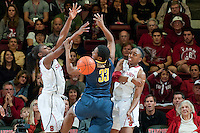 STANFORD, CA-JANUARY 28, 2011: Sisters Nnemkadi Ogwumike and  Chiney Ogwumike force a block during a 74-71 overtime win over the Cal Bears.
