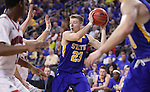 SIOUX FALLS, SD: MARCH 6: Reed Tellinghuisen #23 of South Dakota State looks for a teammate while playing South Dakota during the Summit League Basketball Championship on March 6, 2017 at the Denny Sanford Premier Center in Sioux Falls, SD. (Photo by Dick Carlson/Inertia)