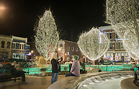 NWA Democrat-Gazette/CHARLIE KAIJO Holiday lights are shown, Friday, November 30, 2018 at the downtown square in Bentonville.