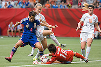 June 23, 2015: Ayumi KAIHORI of Japan catches the ball during a round of 16 match between Japan and Netherlands at the FIFA Women's World Cup Canada 2015 at BC Place Stadium on 23 June 2015 in Vancouver, Canada. Japan won 2-1. Sydney Low/AsteriskImages.com
