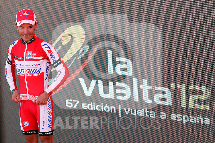 Joaquin Purito Rodriguez celebrates the victory in the stage of La Vuelta 2012 between Vilagarcia de Arousa and Mirador de Erazo (Dumbria).August 30,2012. (ALTERPHOTOS/Acero)