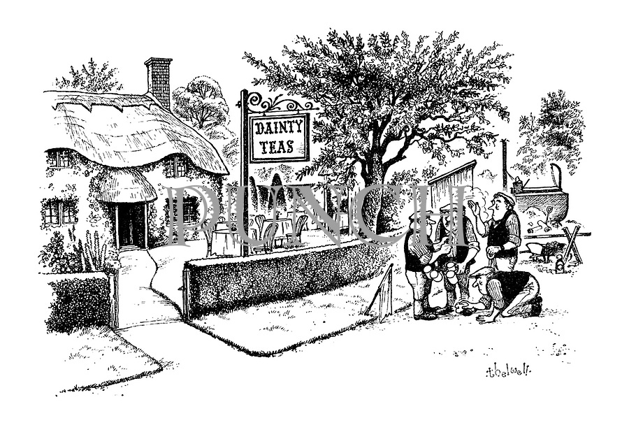 (Workmen outside a cottage advertising 'Dainty Teas' tidy themselves up before going in with their tea mugs)