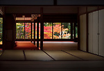Tenju-an Japanese Temple hall interior with a view on beautiful autumn nature scenery behind the windows. Nanzen-ji complex in Sakyo-ku, Kyoto, Japan 2017 Image © MaximImages, License at https://www.maximimages.com