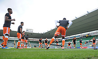 The Blackpool squad during the pre-match warm-up <br /> <br /> Photographer Kevin Barnes/CameraSport<br /> <br /> The EFL Sky Bet League One - Plymouth Argyle v Blackpool - Saturday 15th September 2018 - Home Park - Plymouth<br /> <br /> World Copyright &copy; 2018 CameraSport. All rights reserved. 43 Linden Ave. Countesthorpe. Leicester. England. LE8 5PG - Tel: +44 (0) 116 277 4147 - admin@camerasport.com - www.camerasport.com