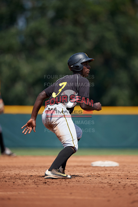 Pittsburgh Pirates Sherten Apostel (3) leads off second base during an Instructional League intrasquad black and gold game on September 28, 2017 at Pirate City in Bradenton, Florida.  (Mike Janes/Four Seam Images)