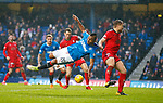 4.3.2018: Rangers v Falkirk Scottish Cup QF<br /> Alfredo Morelos pulled off the ball as Aaron Muirhead behind scores an OG