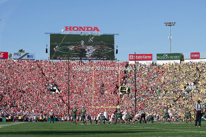 A general view of Rose Bowl Stadium from field level during the Wisconsin Badgers 2012 Rose Bowl NCAA football game against the Oregon Ducks in Pasadena, California on January 2, 2012. The Ducks won 45-38. (Photo by David Stluka)