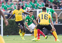 Pasadena, CA - Thursday June 09, 2016: JeVaughn Watson, Raul Jimenez during a Copa America Centenario Group C match between Mexico (MEX) and Jamaica (JAM) at Rose Bowl Stadium.