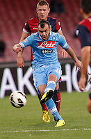 Naples's Goran Pandev shoot during Italian Serie A soccer match against Genoa at the San Paolo  stadium in Naples April 7, 2013