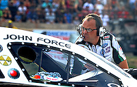 Jul. 19, 2013; Morrison, CO, USA: Jimmy Prock , crew chief for NHRA funny car driver John Force during qualifying for the Mile High Nationals at Bandimere Speedway. Mandatory Credit: Mark J. Rebilas-