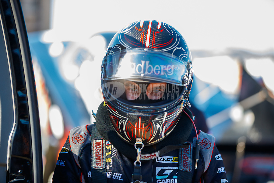 Jul 28, 2017; Sonoma, CA, USA; NHRA funny car driver Jonnie Lindberg during qualifying for the Sonoma Nationals at Sonoma Raceway. Mandatory Credit: Mark J. Rebilas-USA TODAY Sports